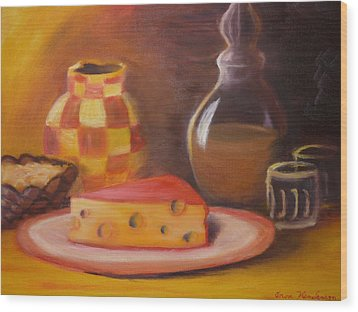 A Snack With Cheese Wood Print by Anna  Henderson