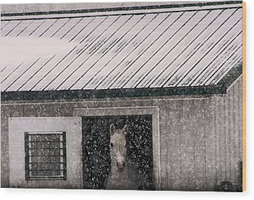 A Snowfall At The Stable Wood Print by Bruce Patrick Smith
