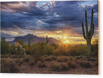 A Sonoran Desert Sunrise Wood Print by Saija  Lehtonen