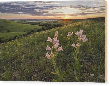 A Spring Sunset In The Flint Hills Wood Print