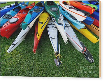 A Stack Of Kayaks Wood Print by Amy Cicconi