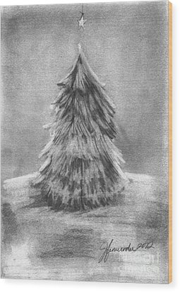 Wood Print featuring the drawing A Star Above by J Ferwerda