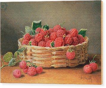 A Still Life Of Raspberries In A Wicker Basket  Wood Print