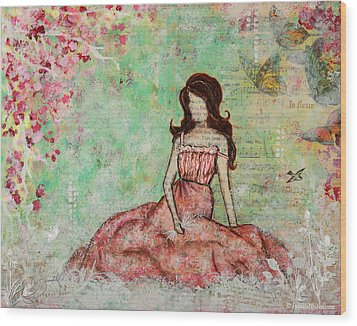A Still Morning Folk Art Mixed Media Painting Wood Print by Janelle Nichol