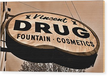 A Store For Everyone - Vintage Pharmacy Sign Wood Print