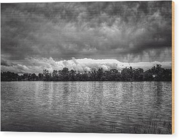 A Storm Rolls By Wood Print by Thomas Young
