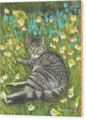 Wood Print featuring the painting A Striped Cat On Floral Carpet by Jingfen Hwu