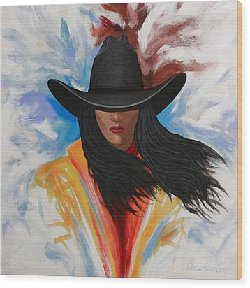 A Stroke Of Cowgirl Wood Print by Lance Headlee