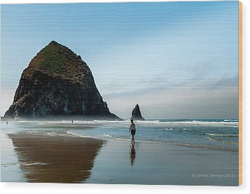 A Stroll At Cannon Beach Oregon Wood Print