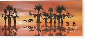 Wood Print featuring the digital art A Stroll By Moonlight II by Jacqueline Lloyd