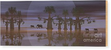 Wood Print featuring the digital art A Stroll By Moonlight by Jacqueline Lloyd