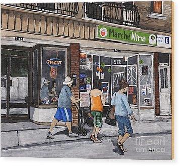 A Stroll Down Wellington Street In Verdun Wood Print by Reb Frost
