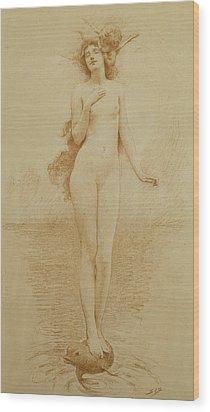 A Study For The Birth Of Love Wood Print by Solomon Joseph Solomon