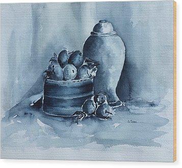 A Study In Blue Wood Print by Stephanie Sodel