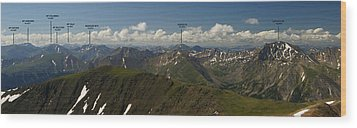 A Summit View Panorama Text Wood Print