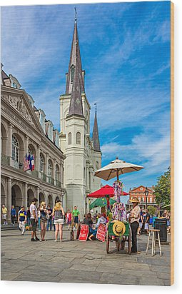 A Sunny Afternoon In Jackson Square Wood Print by Steve Harrington