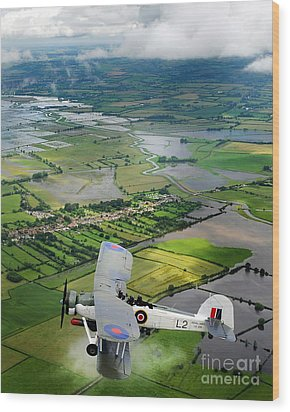 Wood Print featuring the photograph A Swordfish Aircraft With The Royal Navy Historic Flight. by Paul Fearn