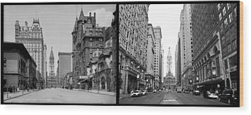 A Tail Of Two Cities - South Broad Then And Now Wood Print by Bill Cannon