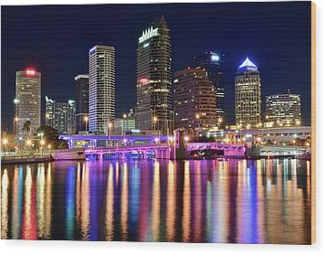 A Tampa Bay Night Wood Print by Frozen in Time Fine Art Photography