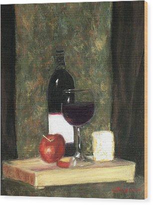 A Taste Of Merlot Wood Print by Cindy Plutnicki