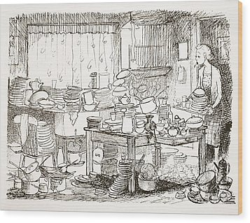 A Tendency To Leave The Washing-up Till Wood Print by Pont