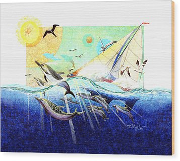 A Tern With The Dolphins Wood Print by David  Chapple