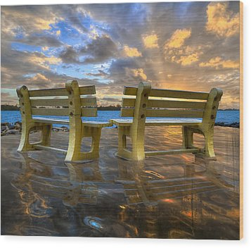 A Time For Reflection Wood Print by Debra and Dave Vanderlaan