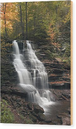 A Touch Of Autumn At Erie Falls Wood Print