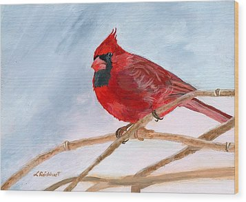 Wood Print featuring the painting A Touch Of Red by Lynne Reichhart
