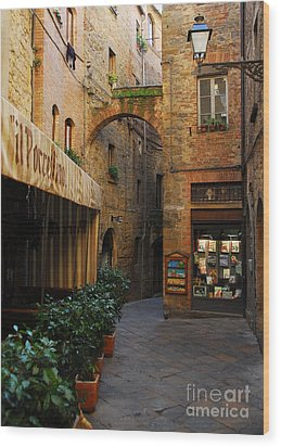 A Town In Tuscany Wood Print by Mel Steinhauer