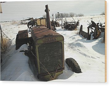 A Tractor In The Snow Wood Print by Jeff Swan