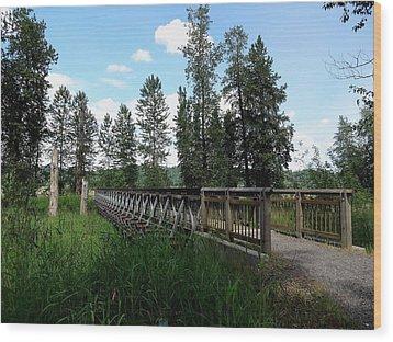 A Trail's Footbridge Wood Print by Lizbeth Bostrom