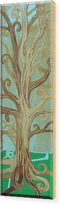 A Tree In Paris Wood Print by Genevieve Esson