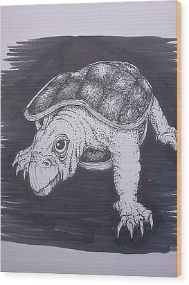 Wood Print featuring the painting A Turtle Named Puppy by Richie Montgomery