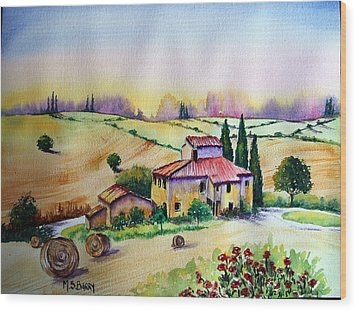 Wood Print featuring the painting A Tuscann Farmhouse by Maria Barry