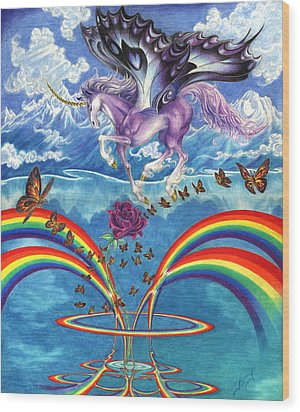 A Unicorn's Love Wood Print by Barry Munden