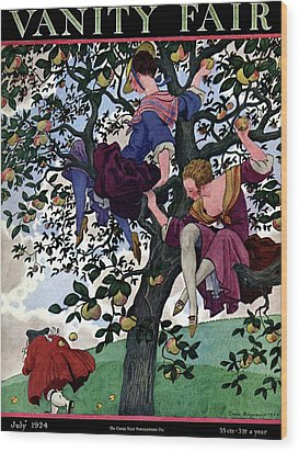 A Vanity Fair Cover Of Women Throwing Apples Wood Print by Pierre Brissaud