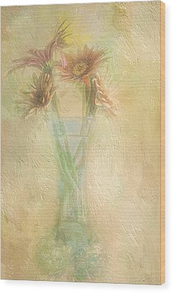 A Vase Of Gerbera Daisies In The Sun Wood Print by Diane Schuster