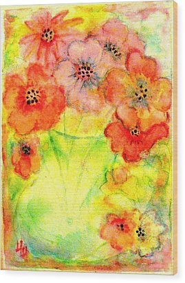 A Vaseful Of Sunshine Wood Print by Hazel Holland