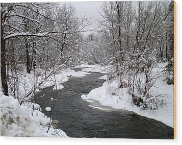 A Vermont Stream In Winter Wood Print