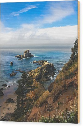 A View From Ecola State Park Wood Print by Robert Bales