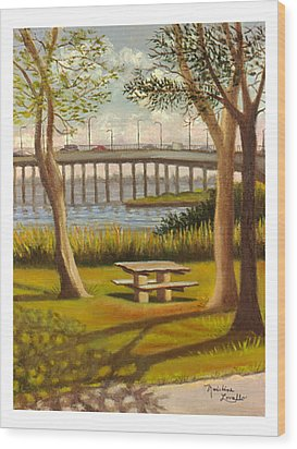 A View Of Crossbay Bridge Wood Print