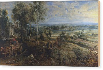 A View Of Het Steen In The Early Morning Wood Print by Peter Paul Rubens