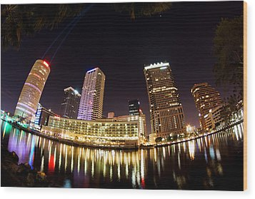 A View Of Tampa And The Hillsborough River Wood Print by Daniel Woodrum