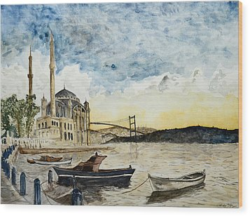 A View Of The Bosphorous Bridge From The Docks Of The Ortakoy Mosque Wood Print