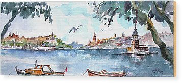A View Of The Historical Peninsula From Uskudar - Istanbul Wood Print by Faruk Koksal