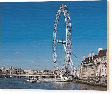 A View Of The London Eye Wood Print