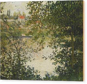 A View Through The Trees Of La Grande Jatte Island Wood Print by Claude Monet