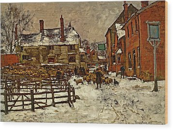 A Village In The Snow Wood Print by Henry King
