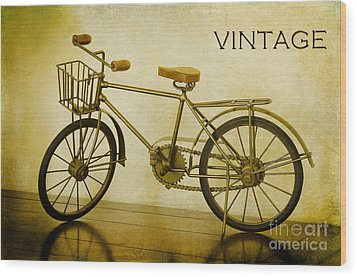 A Vintage Bike Wood Print by MaryJane Armstrong